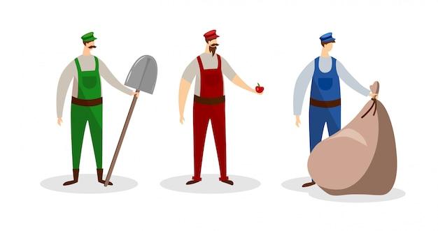 Conjunto de personajes masculinos de los trabajadores en uniforme. gente.