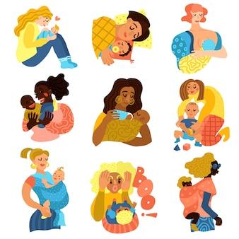 Conjunto de personajes de maternidad