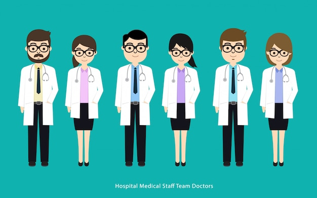 Conjunto de personajes médicos