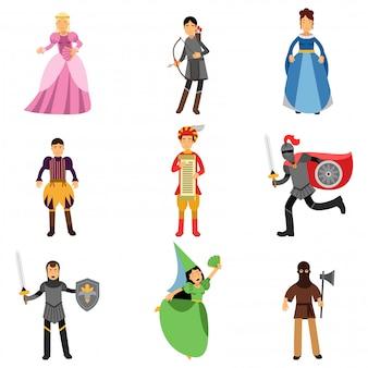 Conjunto de personajes medievales, personas en los trajes históricos de la europa medieval ilustraciones