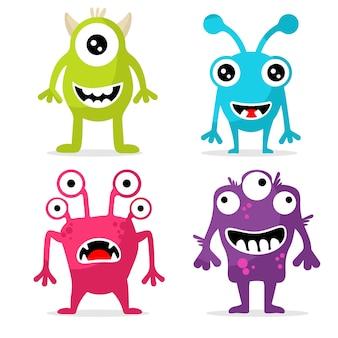 Conjunto de personajes de monstruos lindos