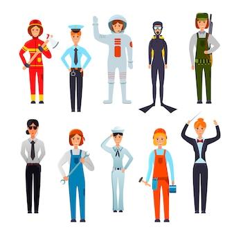 Conjunto de personajes de mujeres profesionales