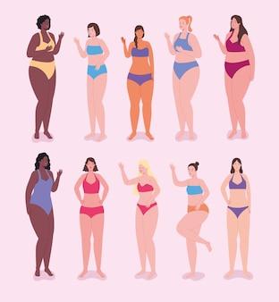 Conjunto de personajes de mujeres