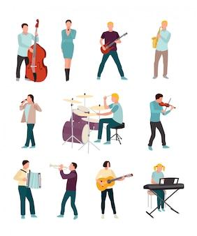 Conjunto de personajes de músicos y cantantes aislado en blanco