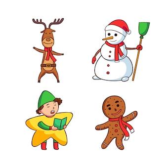 Conjunto de personajes de navidad dibujados a mano