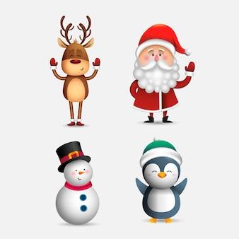 Conjunto de personajes de navidad de dibujos animados realistas