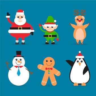 Conjunto de personajes de navidad de diseño plano