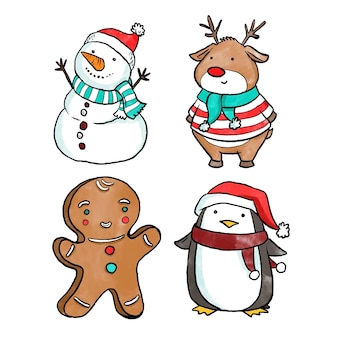 Conjunto de personajes navideños en acuarela