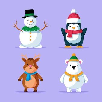 Conjunto de personajes navideños planos.