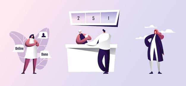 Conjunto de personajes de negocios masculinos y femeninos. mujer que usa el teléfono inteligente para hacer un trato en línea. hombre de pie en el mostrador de pago de facturas bancarias o tomar crédito para negocios. ilustración de vector plano de dibujos animados
