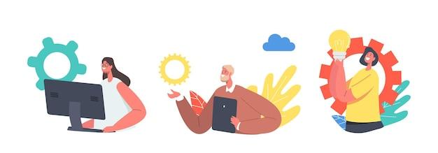 Conjunto de personajes de negocios trabajando en equipo remoto. conferencia grupal de cámara web con compañeros de trabajo a través de una computadora o dispositivo digital. los empleados de la oficina hablan con sus colegas en línea. ilustración de vector de gente de dibujos animados