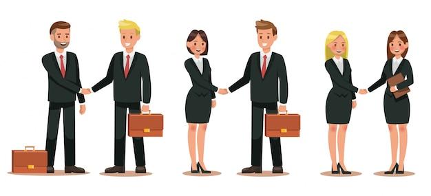 Conjunto de personajes de negocios trabajando en oficina