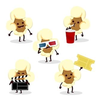 Conjunto de personajes de palomitas de maíz