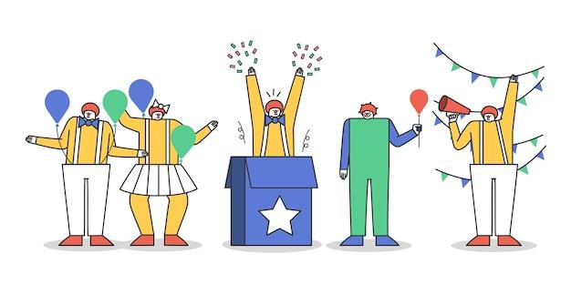 Conjunto de personajes de payaso disfrazados para espectáculo de circo o fiesta.