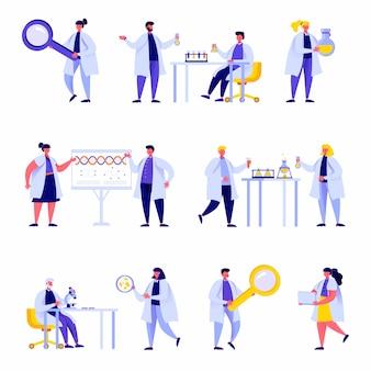 Conjunto de personajes de personal de laboratorio de ciencia de personas planas