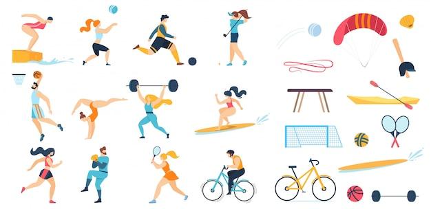 Conjunto de personajes de personas deportivas y equipamiento deportivo