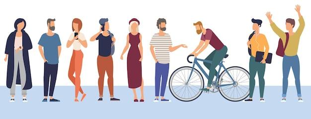 Conjunto de personajes de personas listos para la animación que realizan diversas actividades.