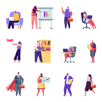 Conjunto de personajes de personas de oficina de negocios plana