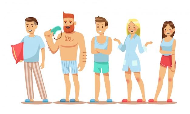 Conjunto de personajes de personas visten pijamas.