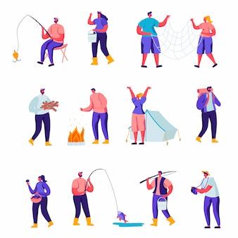 Conjunto de personajes planos de actividades al aire libre