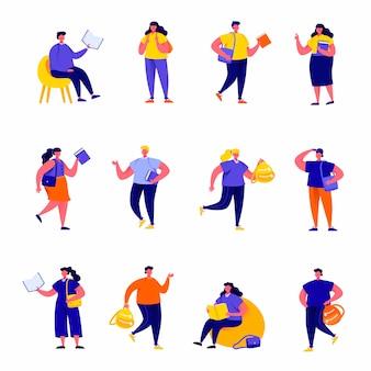 Conjunto de personajes planos de alumnos, escolares y estudiantes