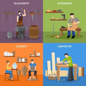 Conjunto de personajes planos craftsman