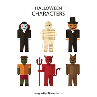Conjunto de personajes planos disfrazados de halloween
