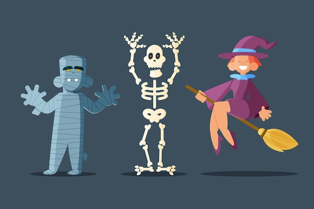 Conjunto de personajes planos de halloween