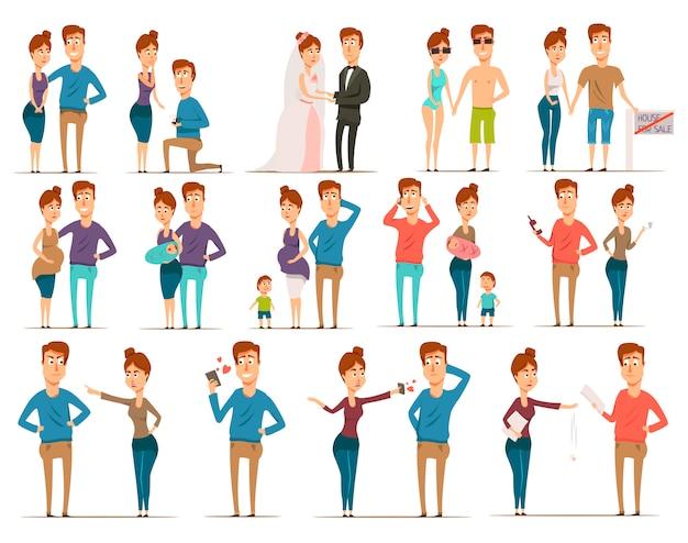 Conjunto de personajes planos de matrimonio