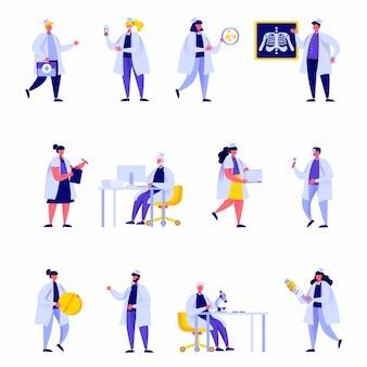 Conjunto de personajes planos del personal del hospital médico
