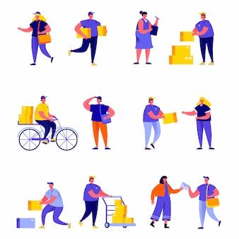 Conjunto de personajes planos trabajadores de servicio de entrega diferentes