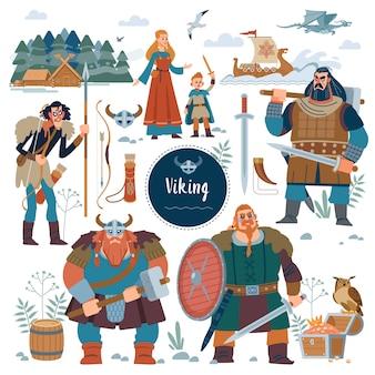 Conjunto de personajes planos vikingos