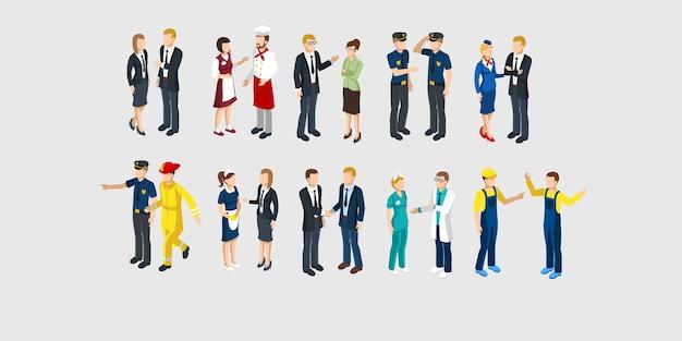 Conjunto de personajes de profesión isométrica.
