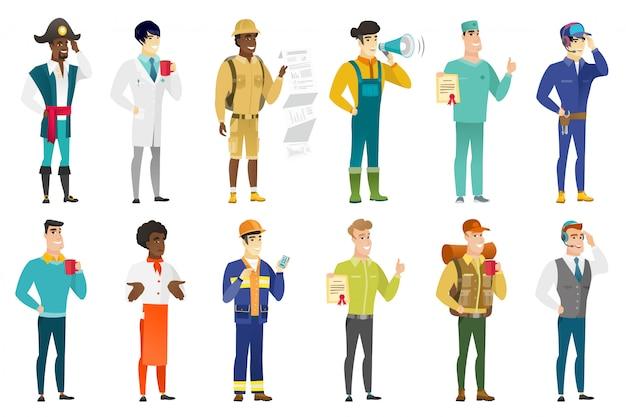 Conjunto de personajes profesionales.