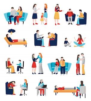 Conjunto de personajes de psicólogo familiar