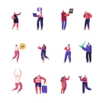 Conjunto de personajes que miran contenido viral en internet mediante dispositivos digitales inteligentes.