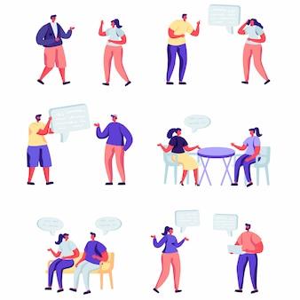 Conjunto de personajes de redes sociales de personas planas.