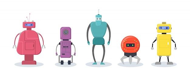 Conjunto de personajes robóticos