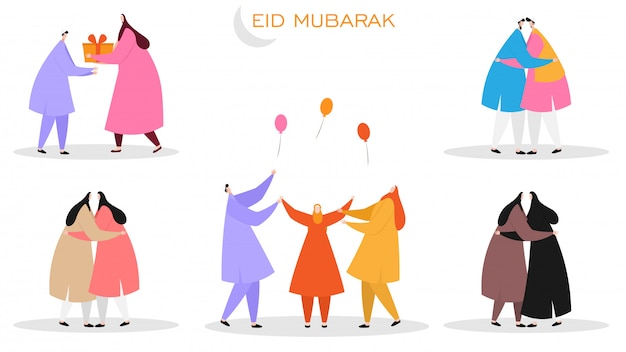 Conjunto de personajes sin rostro islámicos celebrando eid mubarak festi