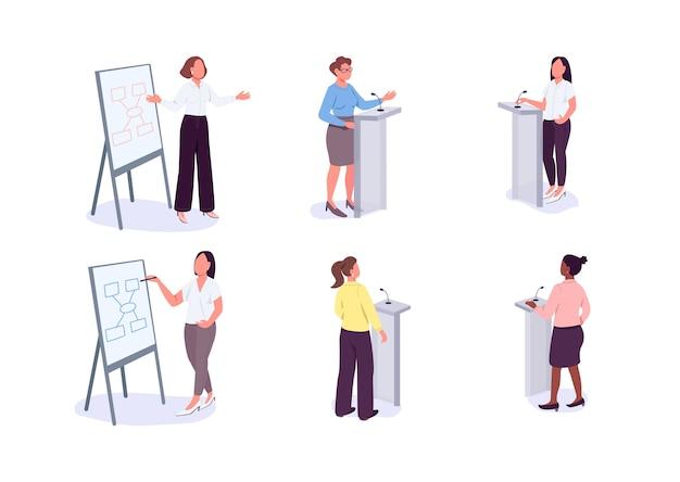 Conjunto de personajes sin rostro de mujeres en liderazgo color plano