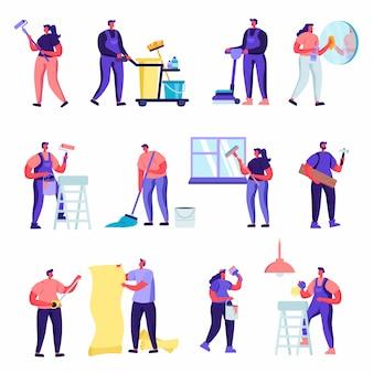Conjunto de personajes de servicio de empresa de limpieza de planos