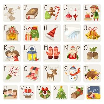 Conjunto de personajes y situaciones de elementos navideños en alfabeto