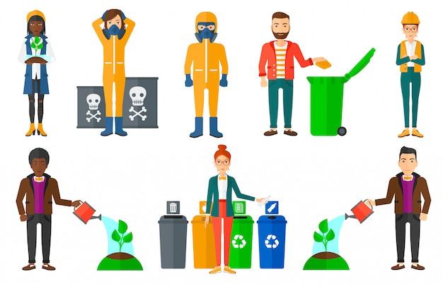 Conjunto de personajes sobre cuestiones de ecología.
