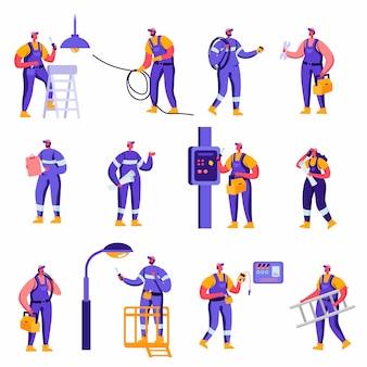 Conjunto de personajes de trabajadores de la industria plana y del servicio de mantenimiento de hogares inteligentes