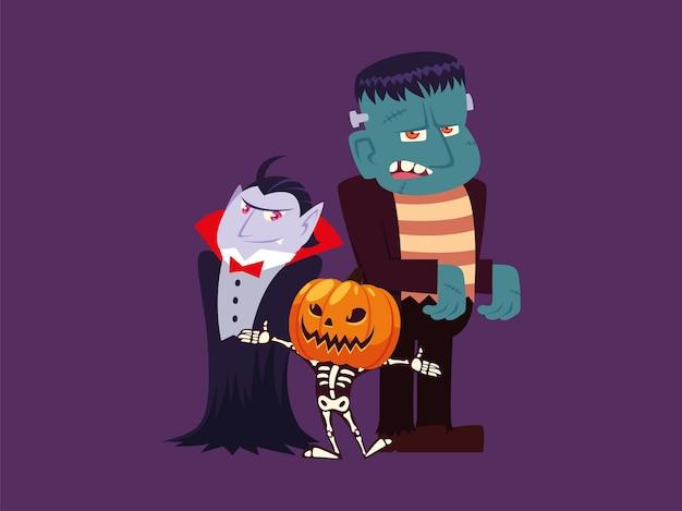 Conjunto de personajes vampiro de halloween, frankenstein, calabaza y esqueleto