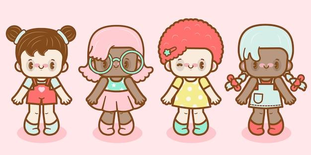 Conjunto de personajes de vector lindo kawaii