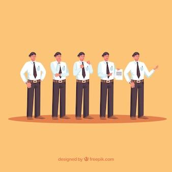 Conjunto de personajes de vendedor con diseño plano