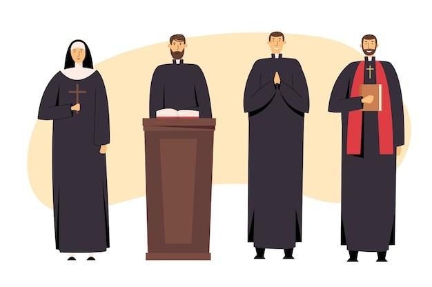 Conjunto de personal cristiano católico, sacerdote y monja en uniforme con cruz
