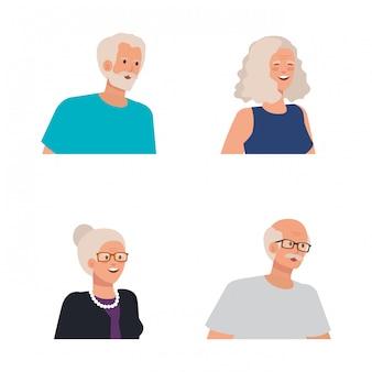 Conjunto de personas ancianas y hombres