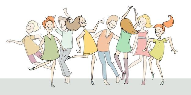 Conjunto de personas bailando boceto en diferentes poses ilustración